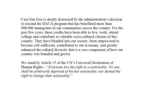 Casa San Jose Statement on DACA